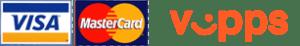 Visa, MasterCard og Vipps logoer